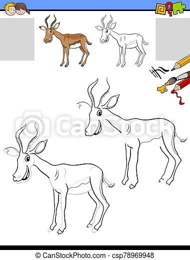 drawing and coloring worksheet with impala animal - csp78969948