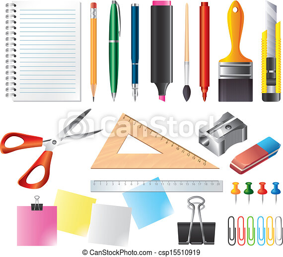 Drawing And Office Tools Vector Set Drawing And Office