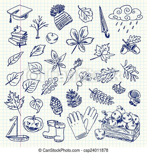 drawing autumn items - csp24011878