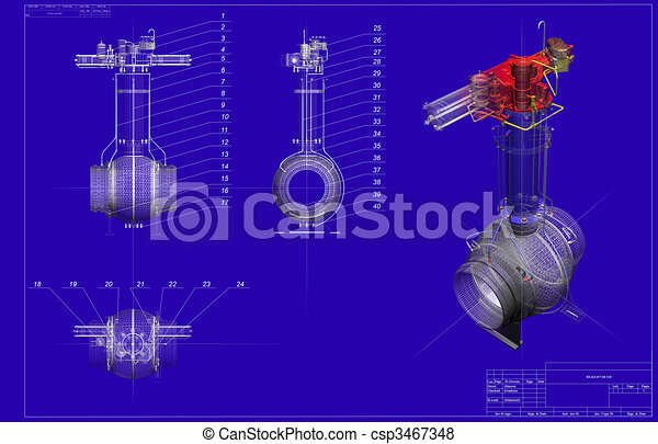drawing ball valve with  three-dimensional shape - csp3467348