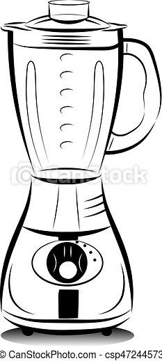 Drawing Black And White Kitchen Blender Vector Illustration