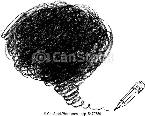 drawing., ceruza, vektor, ábra - csp15472759