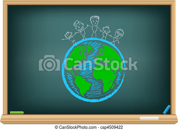 Drawing children and earth by a chalk - csp4509422