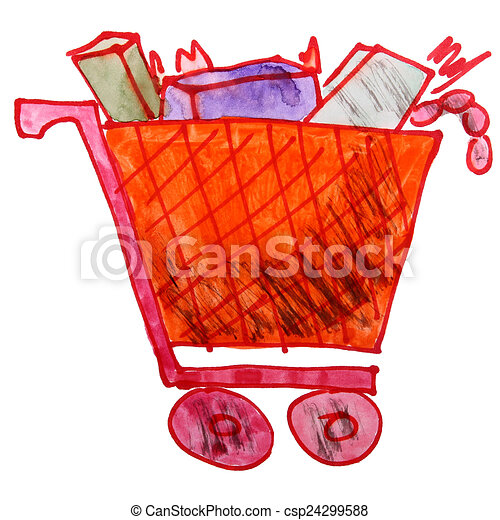 drawing children watercolor trolley cartoon products on a whit - csp24299588