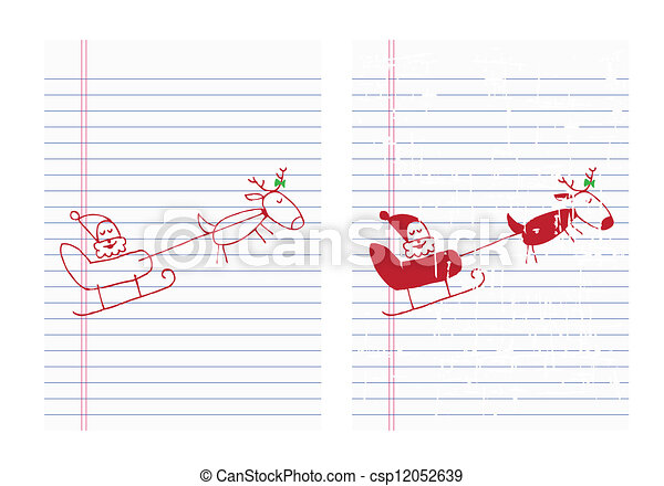 Drawing christmas icon on paper - csp12052639