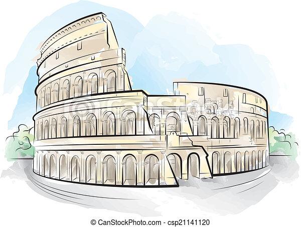Drawing color colosseum rome italy vector illustration for Colosseo da colorare