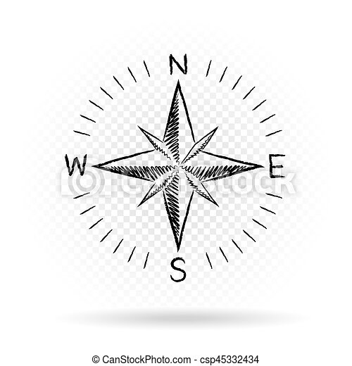 drawing compass directions dark - csp45332434