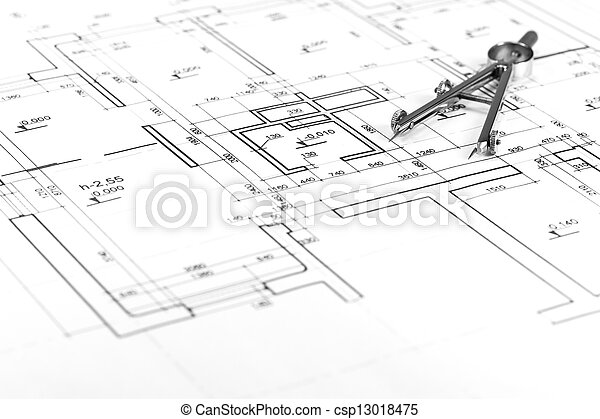 Drawing Compass On Blueprint Drawing Compass On Architectural