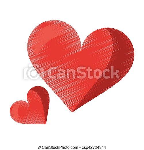 Drawing Cute Red Heart Love Romantic Symbol Vector Illustration Eps 10