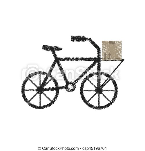 drawing delivery bicycle box service - csp45196764