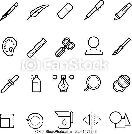 Drawing, design tools vector line text editor icons set for web ui app