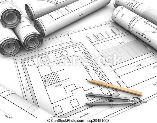 3d illustration of blueprints and drawing instruments stock drawing csp39481003 malvernweather Gallery
