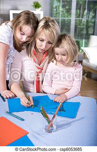drawing family - csp6053685