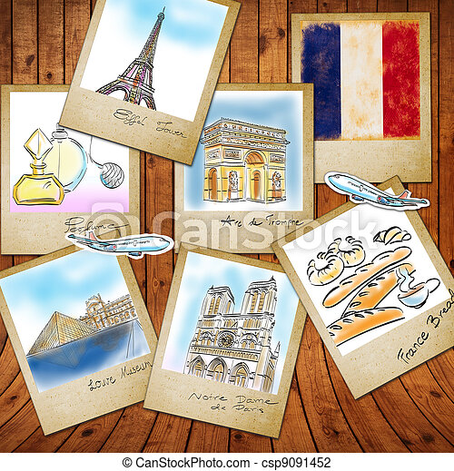 drawing famouse landmark of France in photo frame  - csp9091452