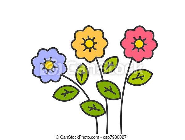 drawing., flores, colorido, contorno, caricatura - csp79300271