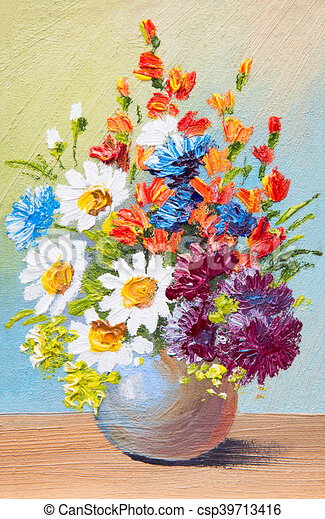 Drawing Flowers In A Vase Oil Watercolor Abstract Painting