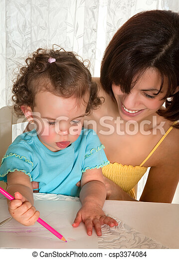 Drawing for mother - csp3374084