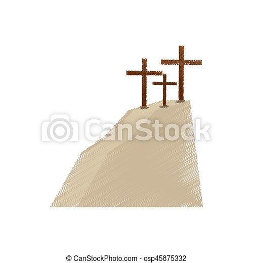drawing golgotha hill three crosses - csp45875332