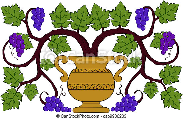 drawing grapes and leaves in a vase - csp9906203