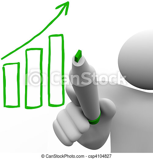 Drawing Growth Bar Chart on Board - csp4104827