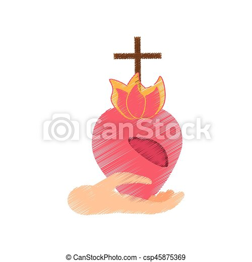 Drawing hand holding sacred heart vector illustration eps 10.