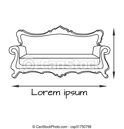 Outline Drawing Illustration Of Sofa Sofa Icon Eps Vectors Search