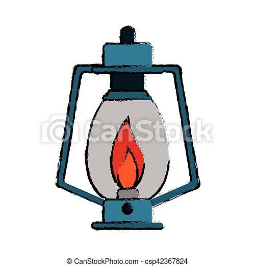 Drawing Lamp Kerosene Old Lantern Camping
