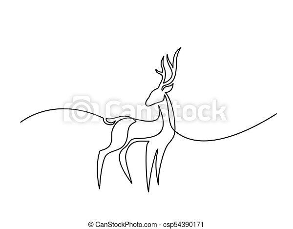drawing., logo, kreska, ciągły, jeleń - csp54390171