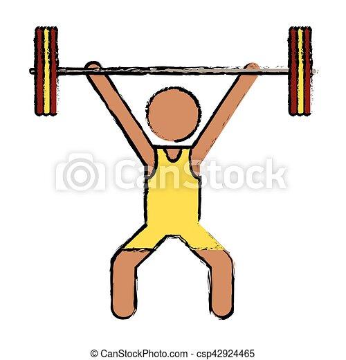 drawing man weight lifter sport athlete - csp42924465