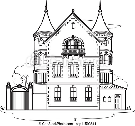 Drawing Mansion 19th Century Castle