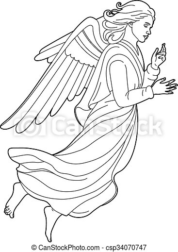 Drawing Of A Beautiful Angel Vector Illustration Of A