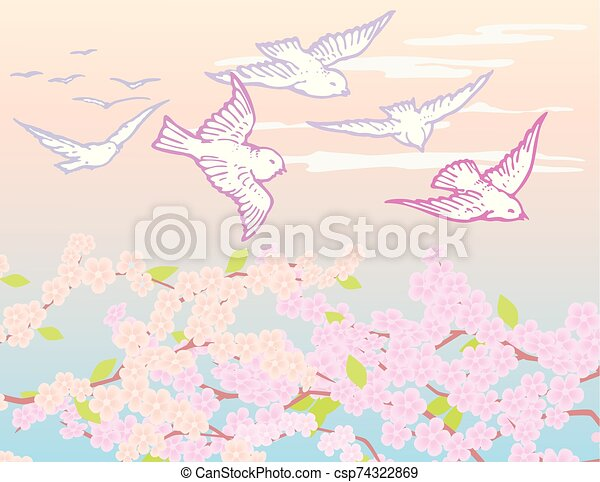 Drawing of a birds flying over flowering spring trees - csp74322869