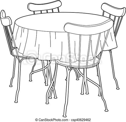 drawing of a kitchen table vector illustration furniture