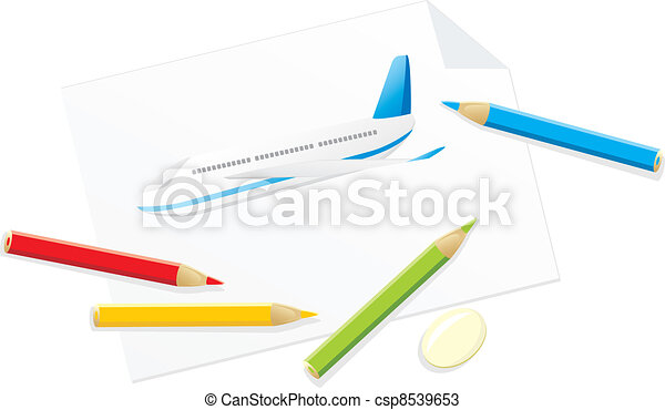 Drawing of airplane - csp8539653
