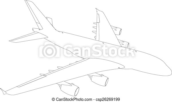 Drawing of airplane. Vector - csp26269199