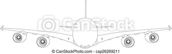 Drawing of airplane. Vector - csp26269211
