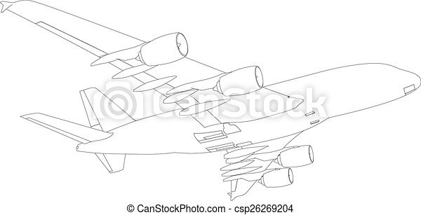 Drawing of airplane. Vector - csp26269204