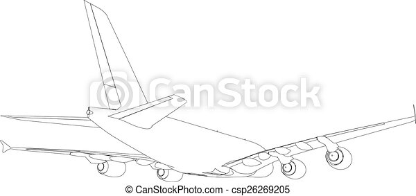Drawing of airplane. Vector - csp26269205