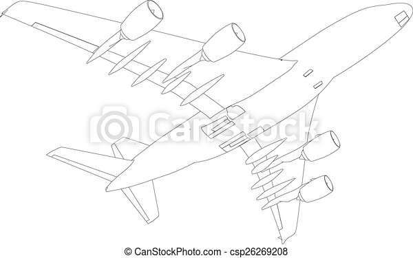 Drawing of airplane. Vector - csp26269208