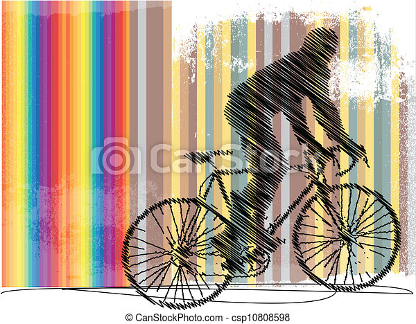 Drawing of biker with colorful background. Vector illustration - csp10808598