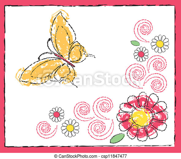 drawing of butterfly and flowers - csp11847477