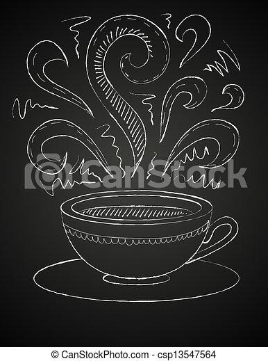 drawing of cup of coffee on blackboard - csp13547564