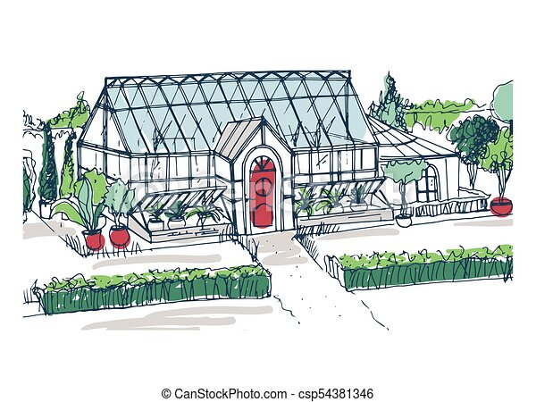 Drawing of elegant glasshouse building with red entrance door surrounded by bushes and trees growing in pots. Freehand sketch of facade of glass greenhouse. Colorful hand drawn vector illustration. - csp54381346