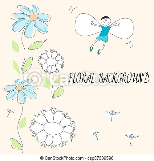 drawing of flowers and flying baby - csp37309596