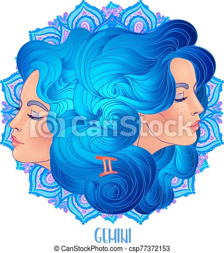 Drawing of Gemini astrological sign as a beautiful woman over ornate mandala pattern. Zodiac vector illustration isolated on white. Future telling, horoscope. - csp77372153