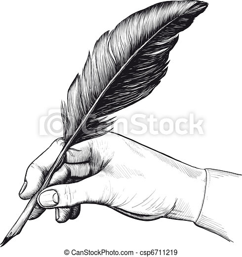 drawing of hand with a feather pen - csp6711219