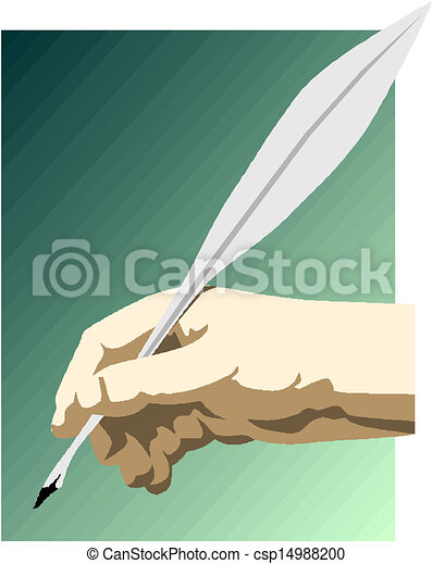 Drawing of hand with a feather pen - csp14988200