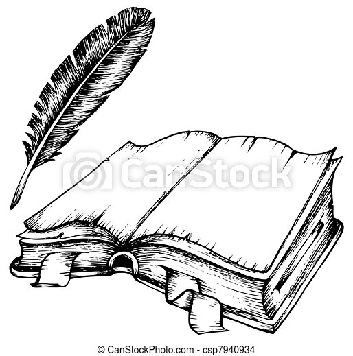 Drawing of opened book with feather - csp7940934