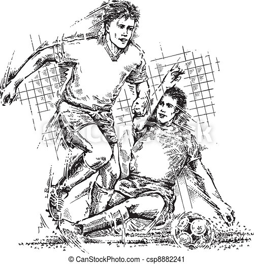 Drawing of soccer players - csp8882241