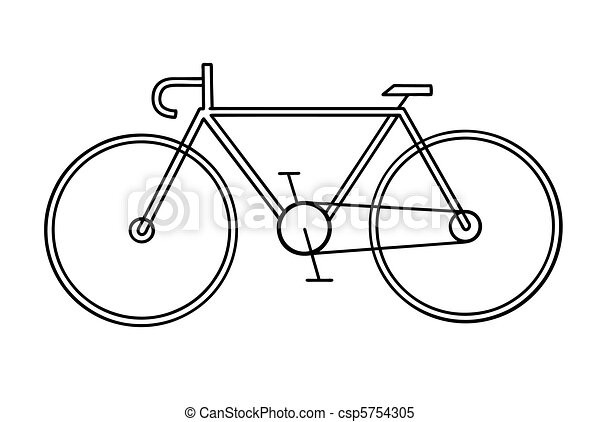 drawing of the bicycle on white background - csp5754305